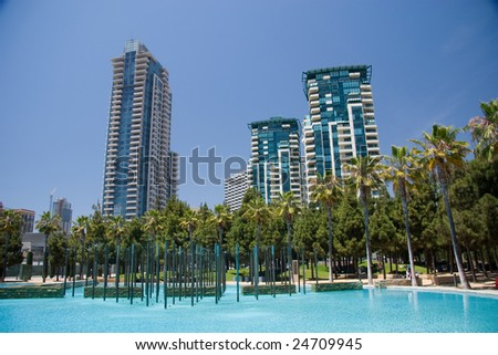 A San Diego park and pool in the downtown area. - stock photo