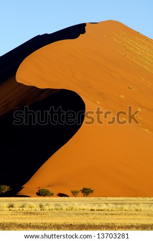 A sand dune in the desert, Namibia, Africa - stock photo