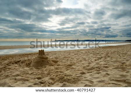 A sandcastle on the beach in Bournemouth, Dorset (England)