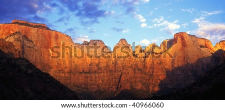 A sandstone canyon wall in Zion National Park. - stock photo