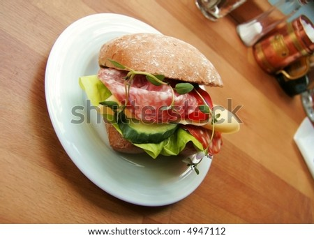 A Sandwich in a coffee house made me hungry - stock photo