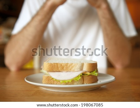 A sandwich on a plate in front of a person. - stock photo