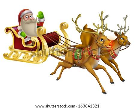 A Santa Claus Christmas Sleigh illustration with Santa Claus riding in his Christmas sleigh - stock photo