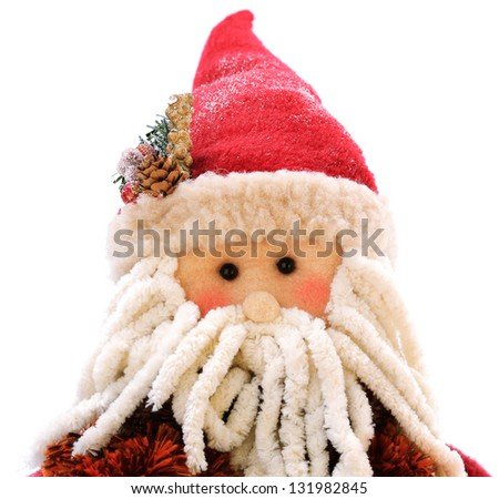 A Santa Claus puppet on a white background - stock photo