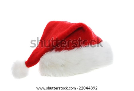 A santa hat on a white background