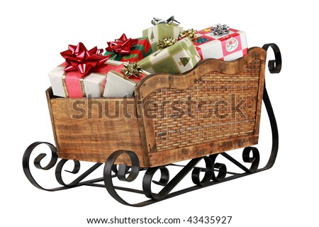 "a ""santa sleigh"" filled with presents ""isolated on white"" with ""room for text"" - stock photo"
