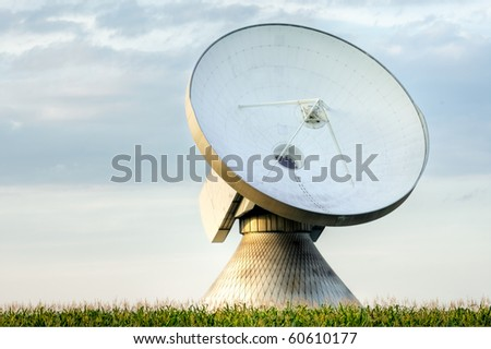 A satellite dish in a field of corn. - stock photo