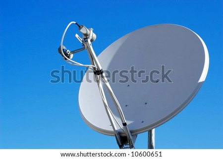 A satellite dish. Lots of copy space. - stock photo