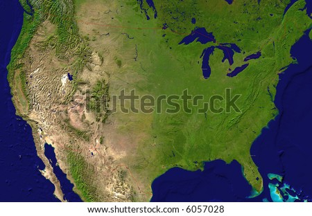 A satellite map of USA and neighboring countries with the main cities - stock photo