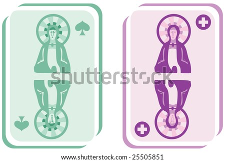 A satire in the form of stylized religious playing cards. - stock photo