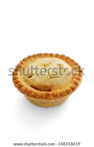 A savoury meat pie with shortcrust pastry studio isolated - stock photo