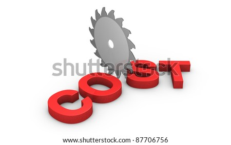 a saw disk that cuts the word: cost (3d render) - stock photo