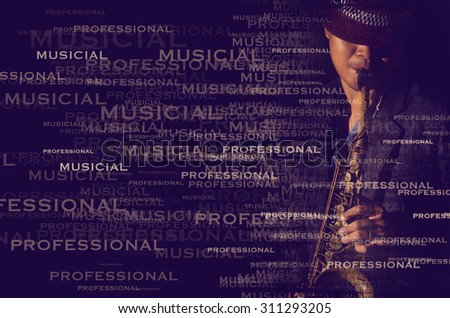 A saxophone player with text portrait effect in a dark background - stock photo