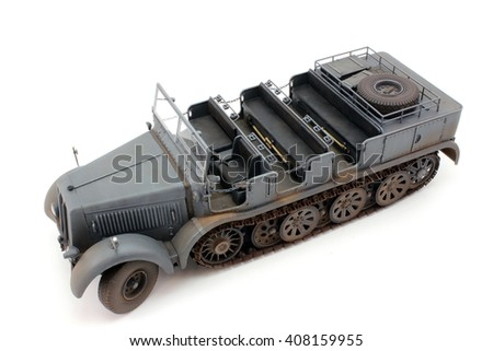 A scale model of semi-tracked tractor in miniature