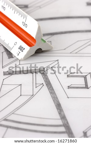 A scale ruler on an architectural plan - stock photo