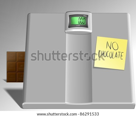 A scale with a sticky note spelling no chocolate on the white background / Chocolate against scale - stock photo