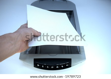 A4 scanner in blue lighting - stock photo