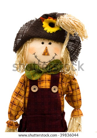 A scarecrow isolated on a white background, autumn scarecrow - stock photo