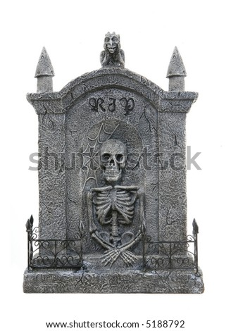 A scary Halloween tombstone isolated over a white background - stock photo