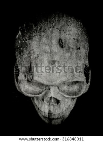 A scary human skull for Halloween or horror.