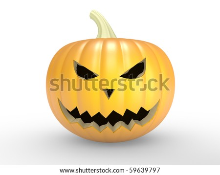 A scary old pumpkin on white background