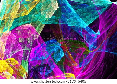 A scattering of diamonds on a white background. Abstract image. Fractal Wallpaper on your desktop. Digital artwork for creative graphic design. - stock photo