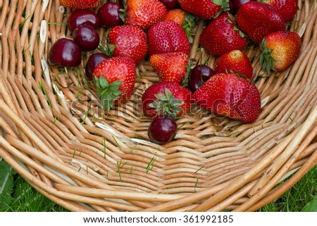 A scattering of ripe strawberries and cherries in wicker basket