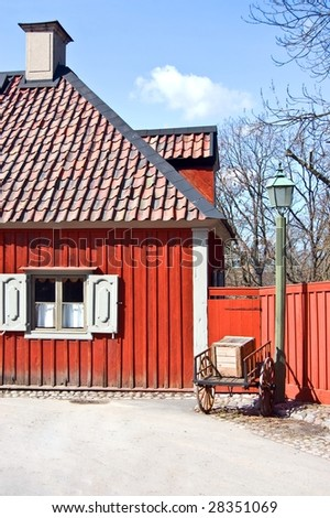 A scene of old swedish traditional house in skansen