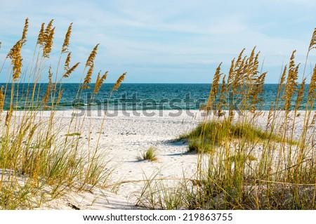 A scene on the Gulf Coast of Alabama. - stock photo