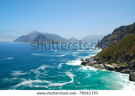 A scenic Atlantic ocean view near South Africa coast. - stock photo