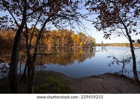 A scenic autumn view on Lake Norman in North Carolina - stock photo