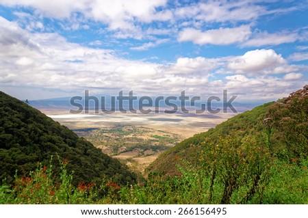 A scenic landscape of Ngorongoro Crater, Tanzania - stock photo
