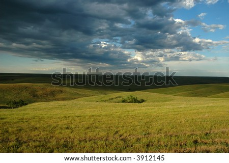 A scenic landscape view from the high plains of South Dakota. - stock photo