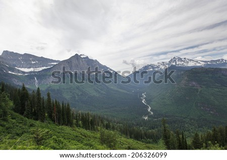 A scenic view in Glacier National Park in Montana. - stock photo