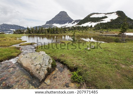 A scenic view in Glacier National Park, Montana - stock photo