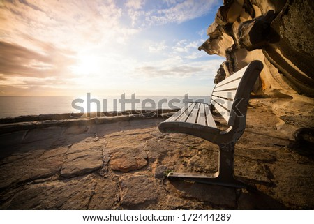 a scenic view of Bondi beach and tasman sea - stock photo