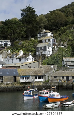 A scenic view of Polperro Harbour, Cornwall.