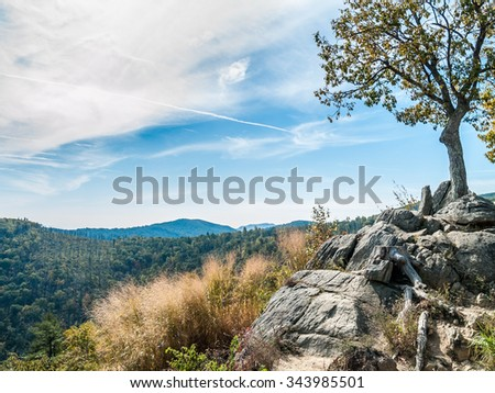 A scenic view of Shenandoah National Park on an early Autumn day. - stock photo