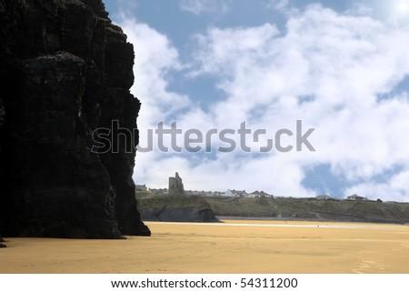 a scenic view of the ballybunion coastline on irelands west coast - stock photo