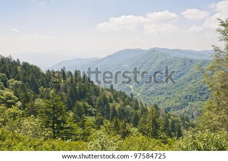 A scenic view of the Smokey Mountain Range from the lookout at the Cherohala Trail.