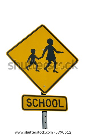 A school area sign isolated on white.