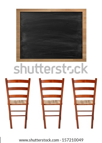 A school chalk board with chalk stains - stock photo