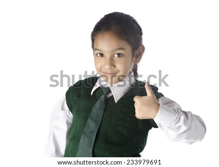 A school girl congratulating her freind - stock photo