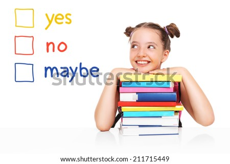 A school girl trying to make a decision over white background