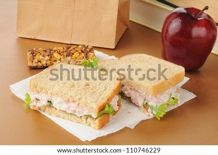 A school lunch with a deviled ham sandwich, apple, granola bar and textbooks - stock photo