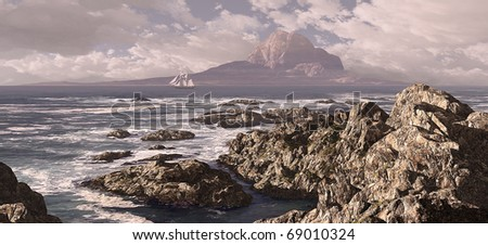 A schooner voyaging out to sea along a rocky coastline. - stock photo