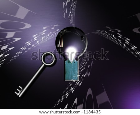 A sci-fi like image: Binary code streams toward a keyhole - stock photo