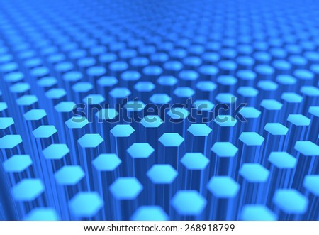 A scientific image of many blue glass hexagons. - stock photo