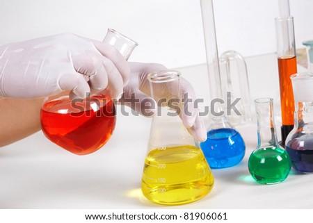 A scientist man working in laboratory. Medicine - stock photo