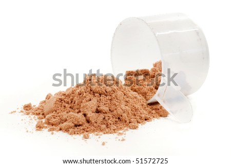 A scoop of protein powder drink on white background. - stock photo